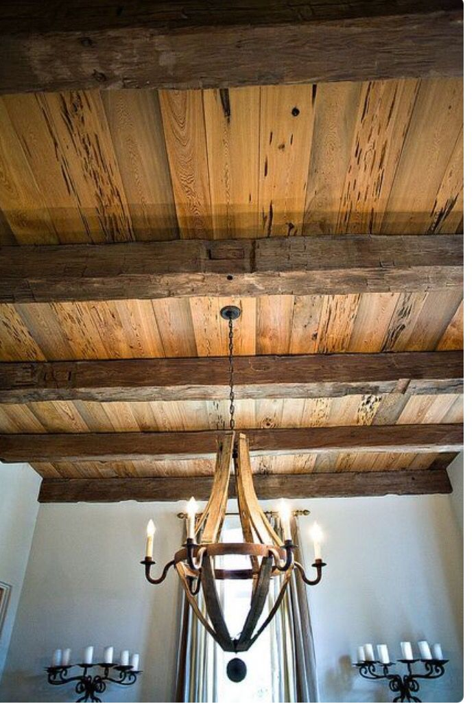 Wood ceiling with beams