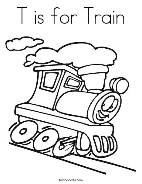 T is for Train Coloring Page Twisty Noodle Home school