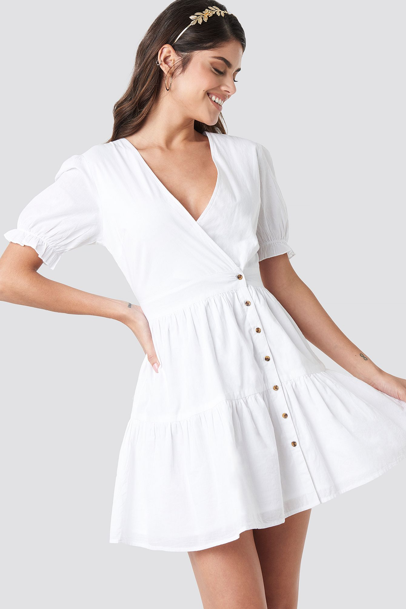 Wrap Front Puff Sleeve Button Dress White Dresses Button Dress White Dress [ 2010 x 1340 Pixel ]