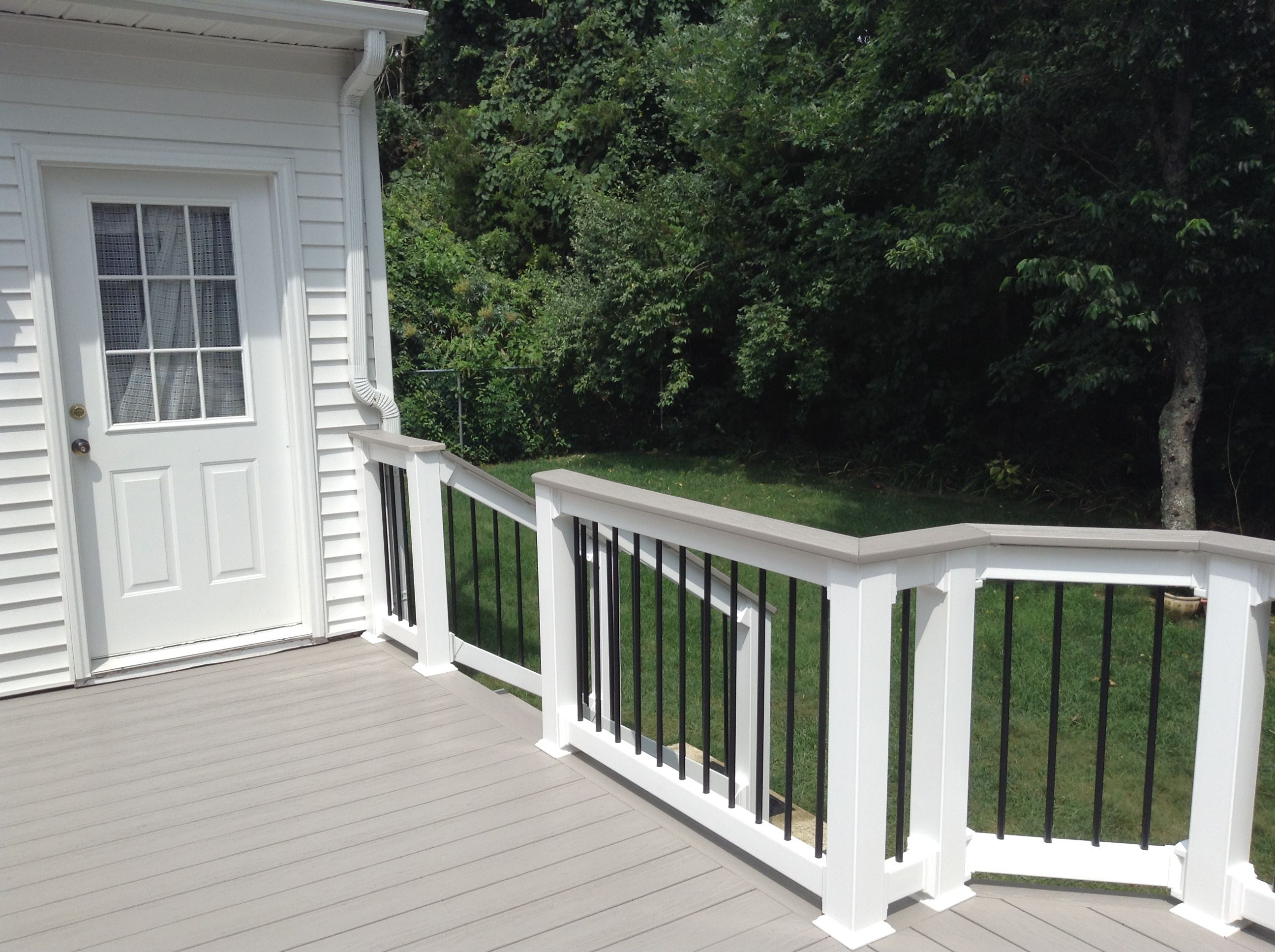Ampro pvc light grey decking white vinyl deck over rail deck vinyl railing great railing provides quality decking fencing plus a whole lot more we can also install your new railing system fencing or deck baanklon Image collections