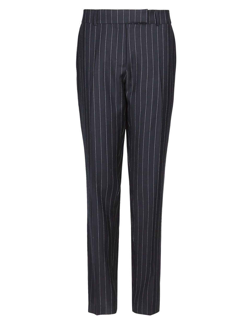 M /& S BEST OF BRITISH COLLECTION PURE NEW WOOL PINSTRIPED SLIM LEG TROUSERS