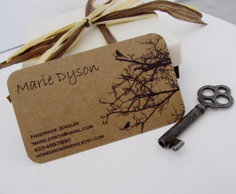 Recycled Business Cards Kraft Brown Black Birds in Tree Rounded ...