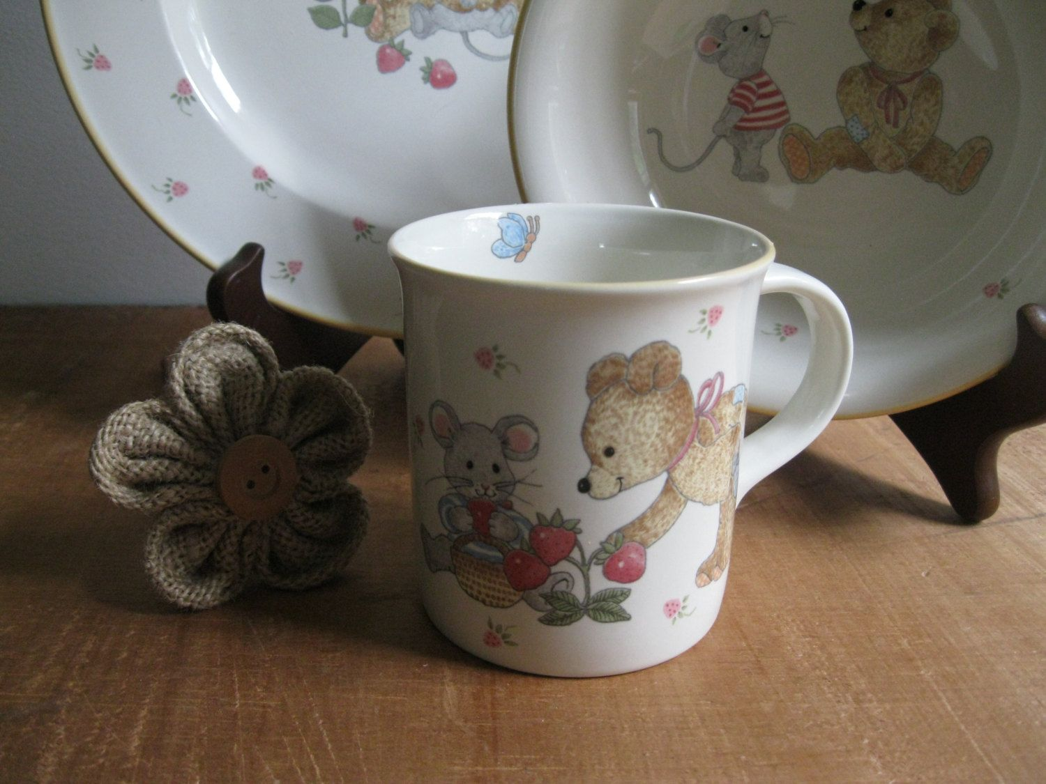 New Item Vintage Mikasateddy Bear Plate Bowl Cup Dish Set 1 Serving Malaysia Dish Sets Plates Etsy