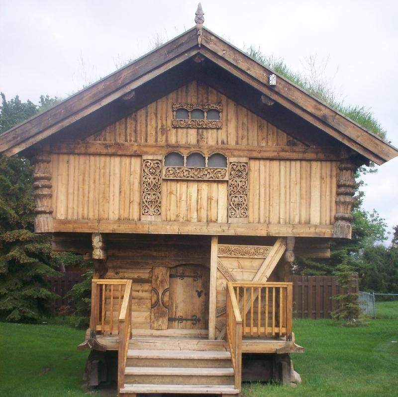 """Logs vertical, Norwegian. A fellow pinner believes that """" this building is a Stabbur, a Norse storage building to store food, built up high to keep the varmints out."""" I believe her as her heritage is Norwegian."""