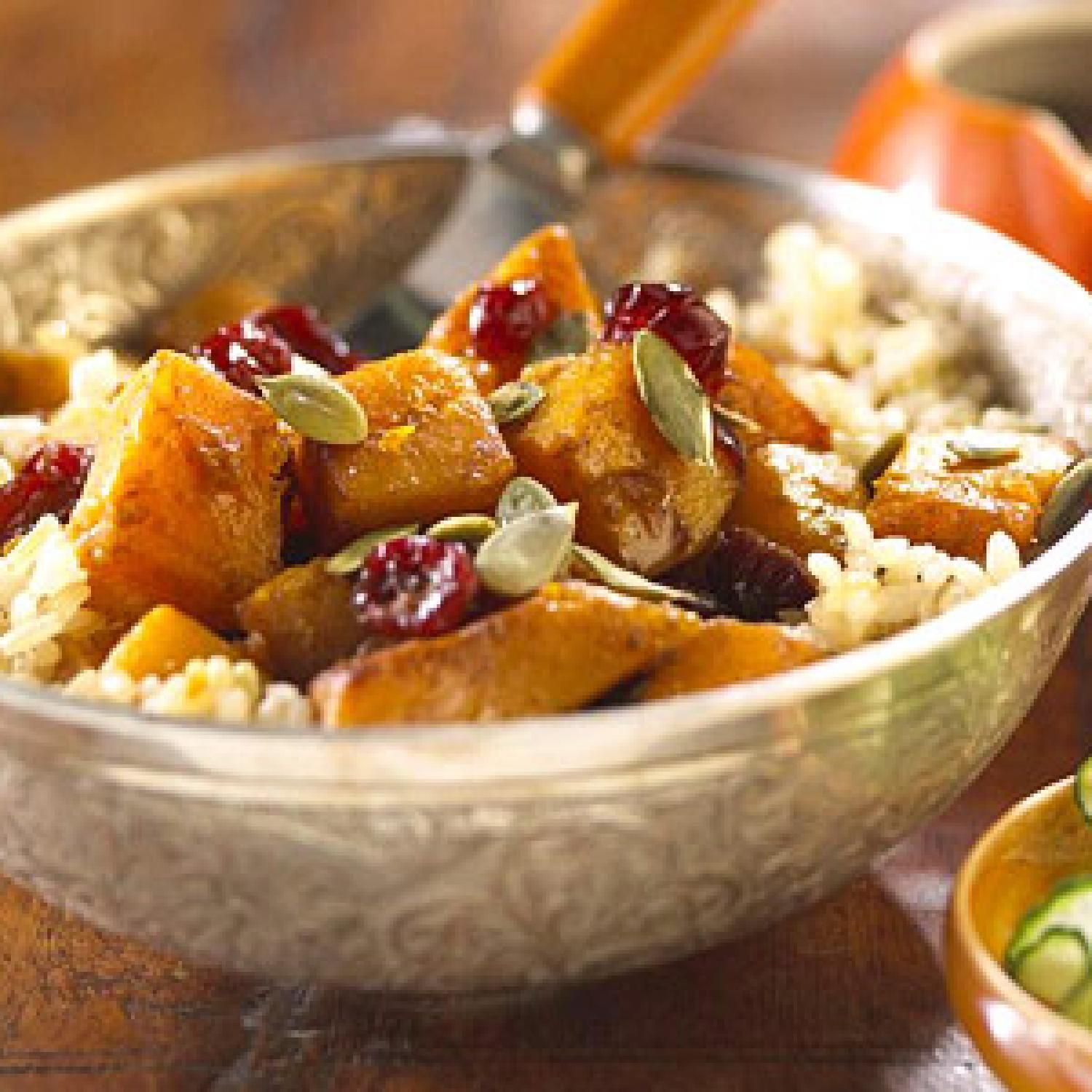 Indian-Spiced Squash.  Save your pumpkin seeds to sprinkle on the top of this perfectly spiced dish, which can be made with any winter squash variety you wish. Ginger, curry powder, and cumin add a nice heat, while raisins (or cranberries) add a chewy sweetness.