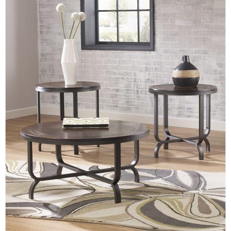 Best Ashley Furniture Ferlin 3 Piece Round Coffee Table Set In 400 x 300
