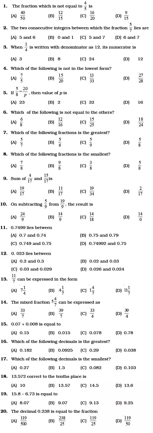 Class 6 Important Questions for Maths Fractions and