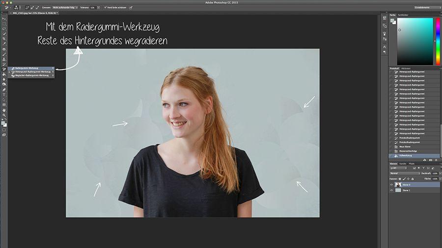 Heute zeigen wir euch eine ganz einfache Möglichkeit wie ihr Models oder Objekte in Photoshop mit dem Hintergrundradiergummi freistellen könnt.