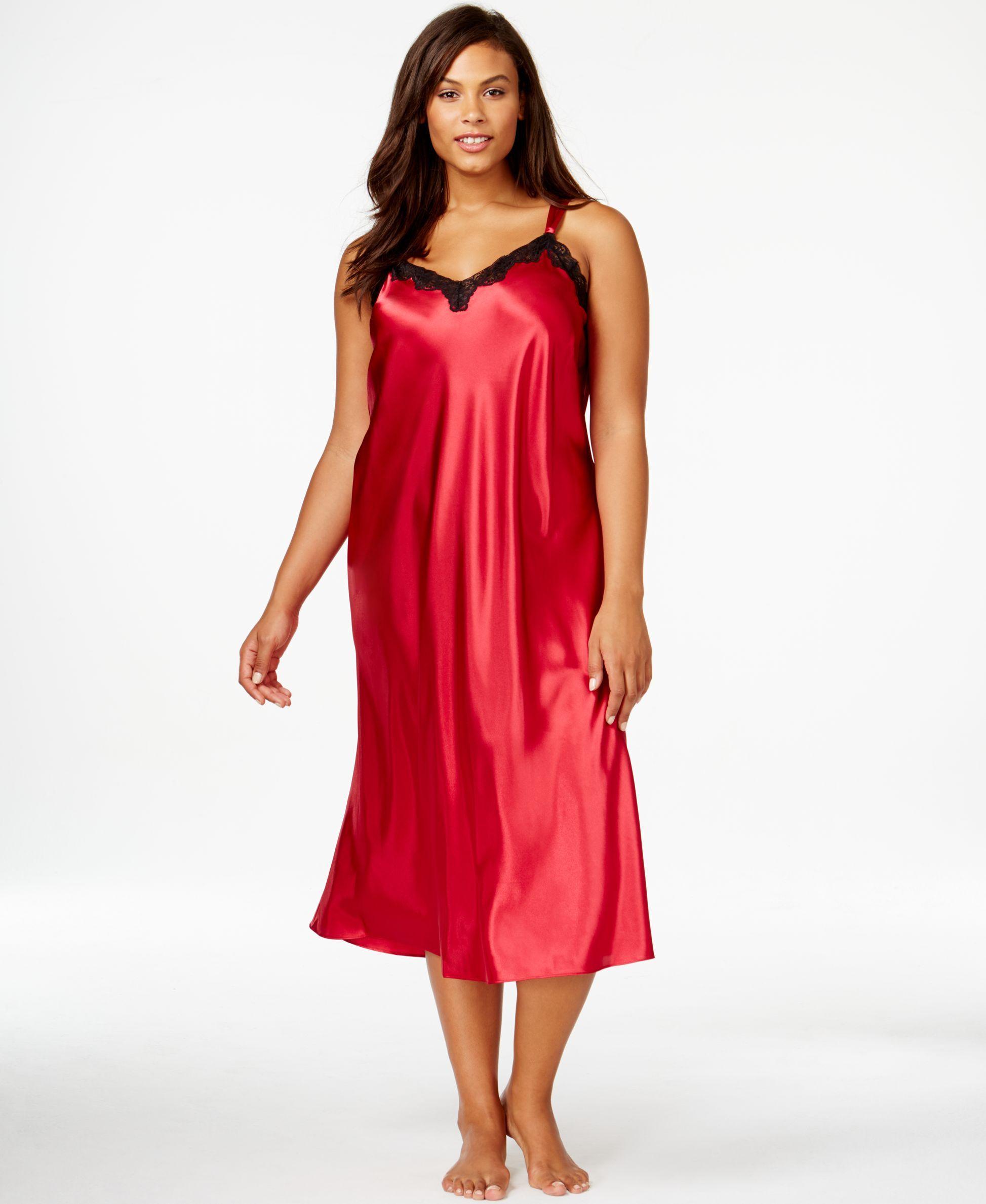 8afd23410 Morgan Taylor Plus Size Satin Nightgown Camisolas Longa