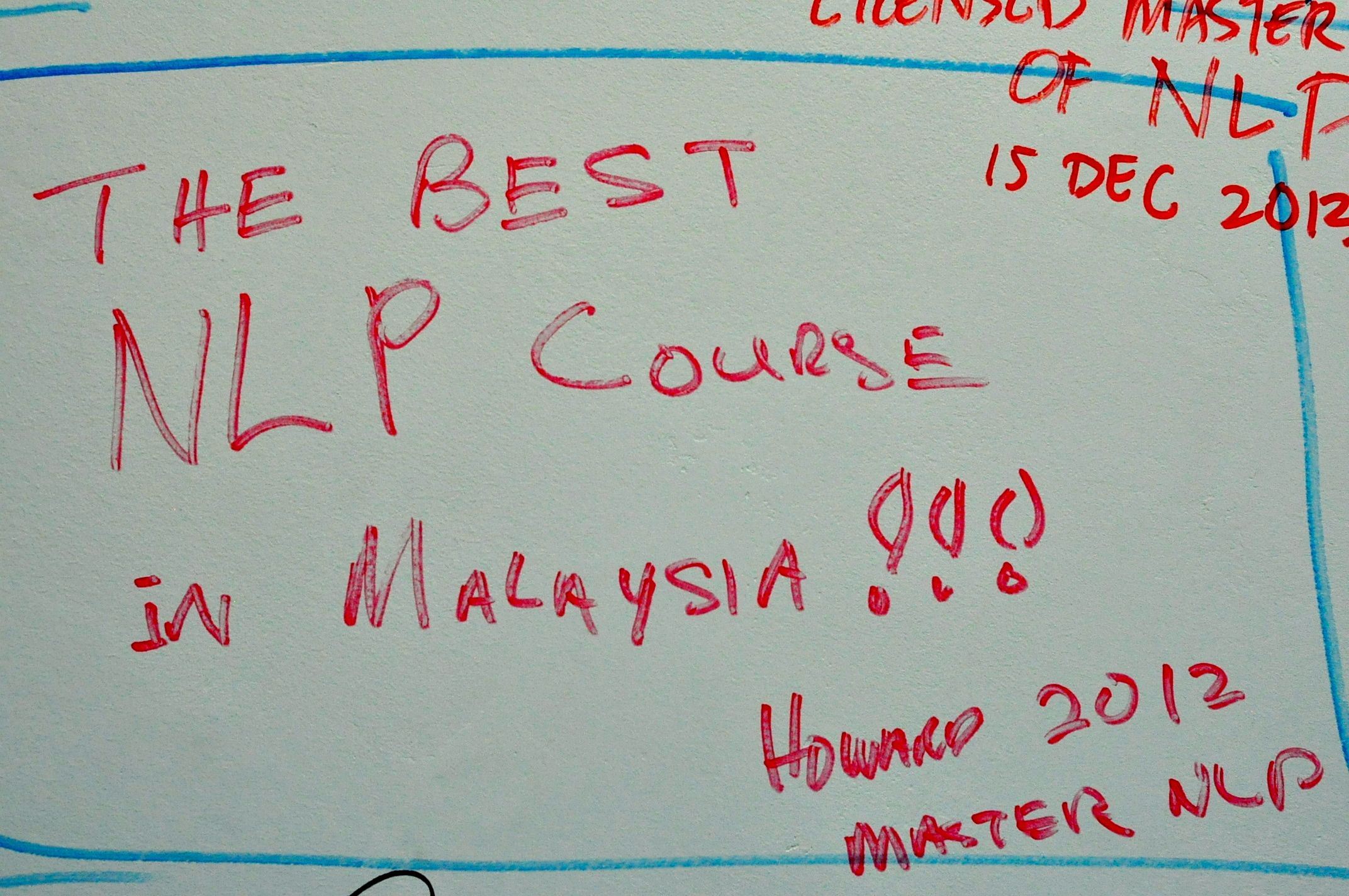 The Best NLP Course in Malaysia Thank you Howard