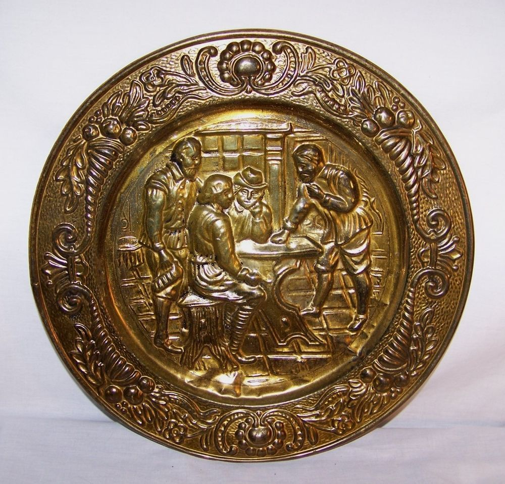 "Antique Brass Wall Plates Unique Vintage Brass Decorative Wall Plate Large 1412"" Pub Scene Tin Made Decorating Inspiration"