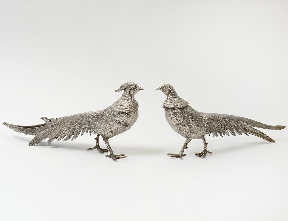 PAIR OF SILVERED METAL PHEASANTS at Auction Gallery of the Palm Beaches on March 21