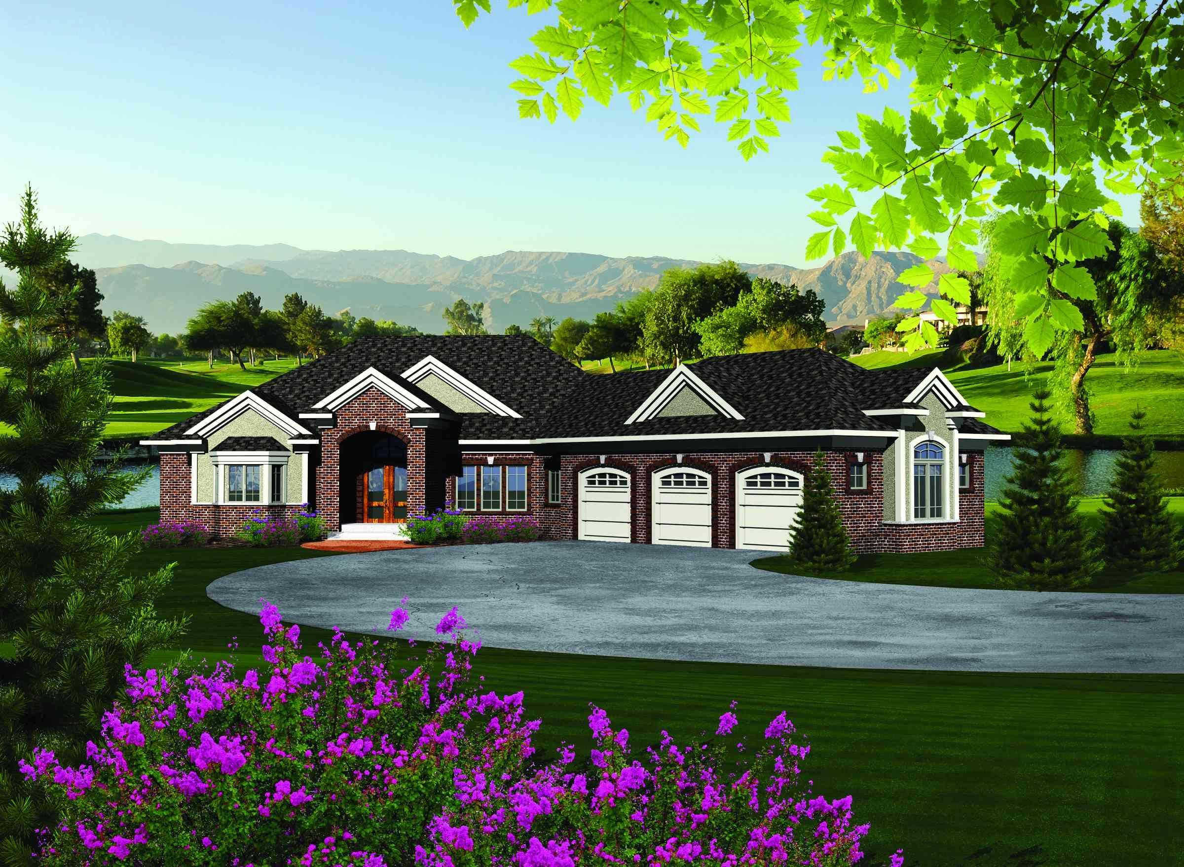 Plan AH Ranch Home Plan with Walkout Basement