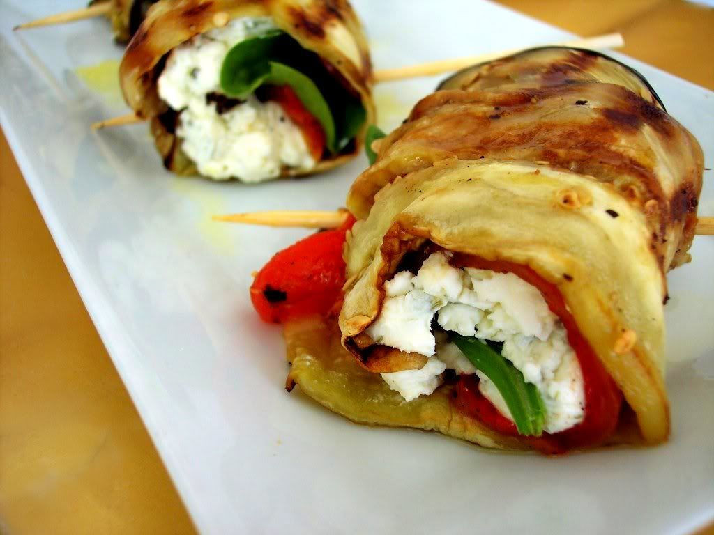 Grilled eggplant stuffed with roasted red pepper, feta ...