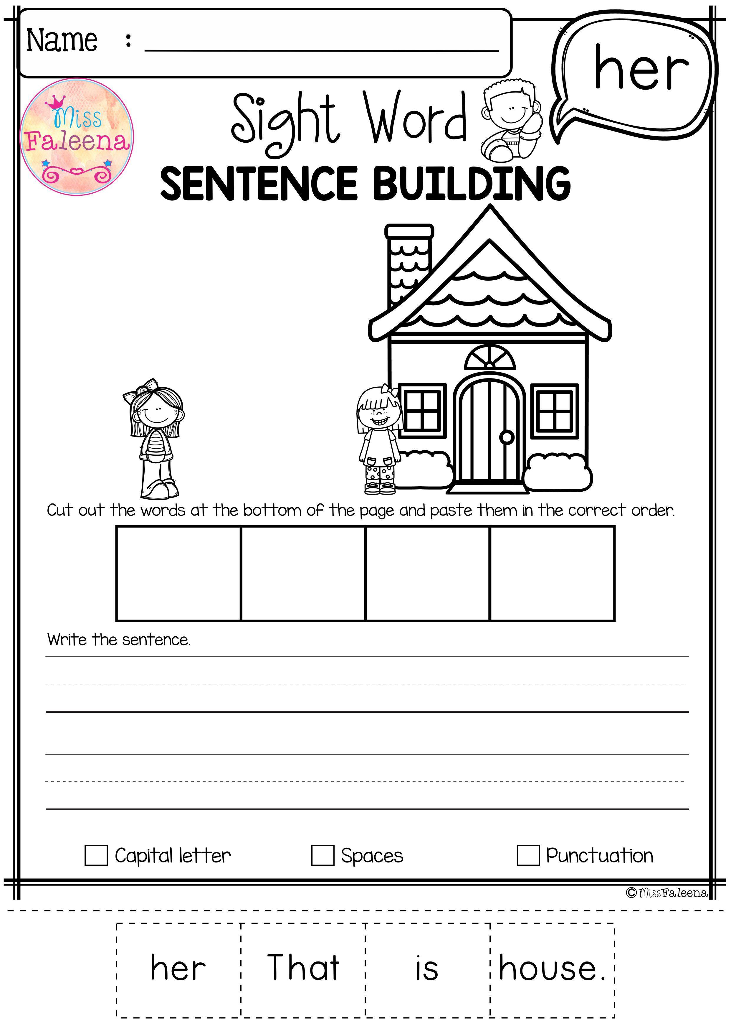 Free Sight Word Sentence Building Sentence Building Sight Word Sentences Sight Words [ 3508 x 2482 Pixel ]
