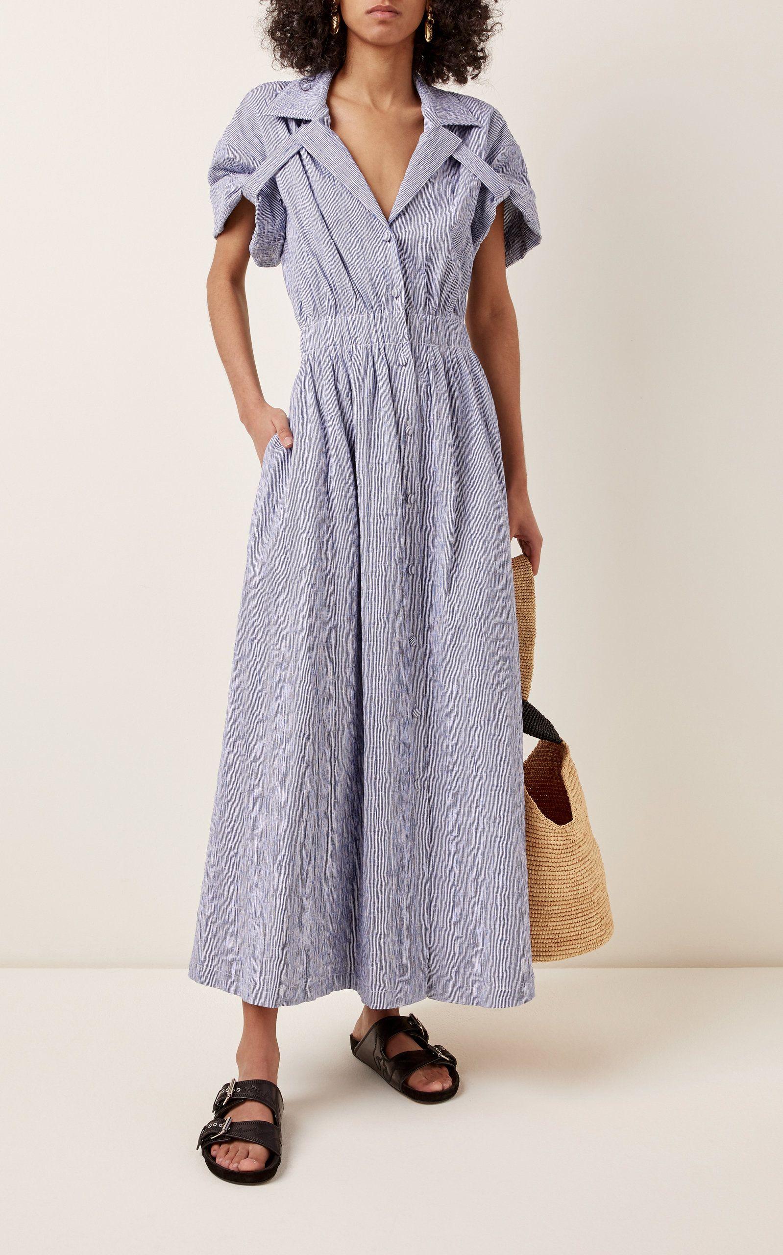 By Any Other Name Shirred Cotton Blend Gauze Midi Dress In 2021 Midi Dress Denim Midi Dress Tie Neck Dress [ 2560 x 1598 Pixel ]
