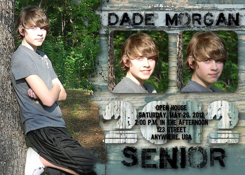 Graduation Announcement - Boy, Blue, Grunge, Senior, High School ...