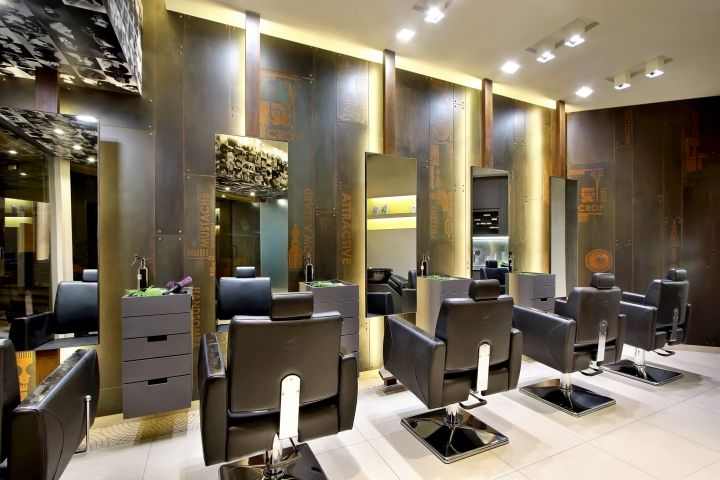 Ancient modern theme salon interior utilize outdoor light for Salon interior design