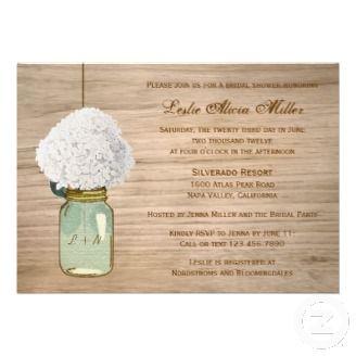 Country Rustic Mason Jar With Beautiful White Hydrangea on a Bridal Shower Custom Invitation Card