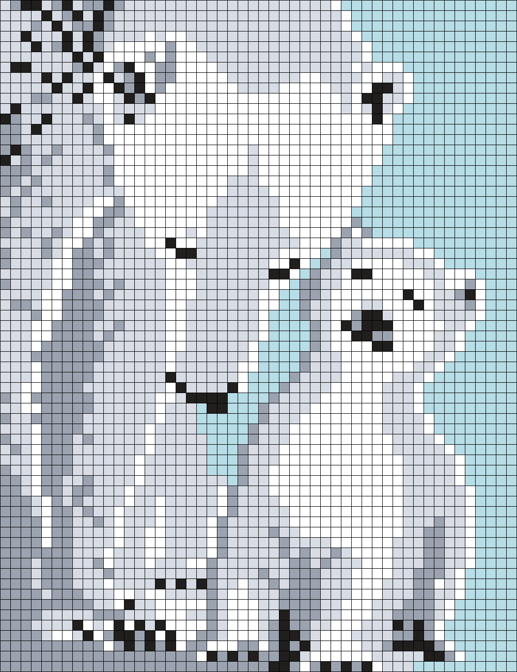Mom and Baby Polar Bears (50 X 65 Square Grid Pattern)   Man in the ...