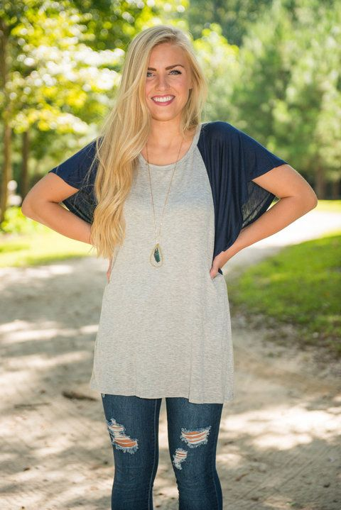 Stand Out Sleeves Top, Navy