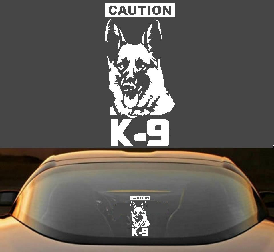 Caution k 9 german shepherd police dog working canine vinyl decal sticker by decal expo gsd decal gsd sticker
