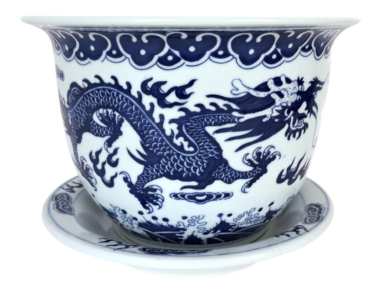 Vintage Blue And White Dragon Planter Plant Pot On Chairish Com Please Feel Free To Contact Us Directly If You Have Chinese Plants Garden Artwork Plant Pots Uk