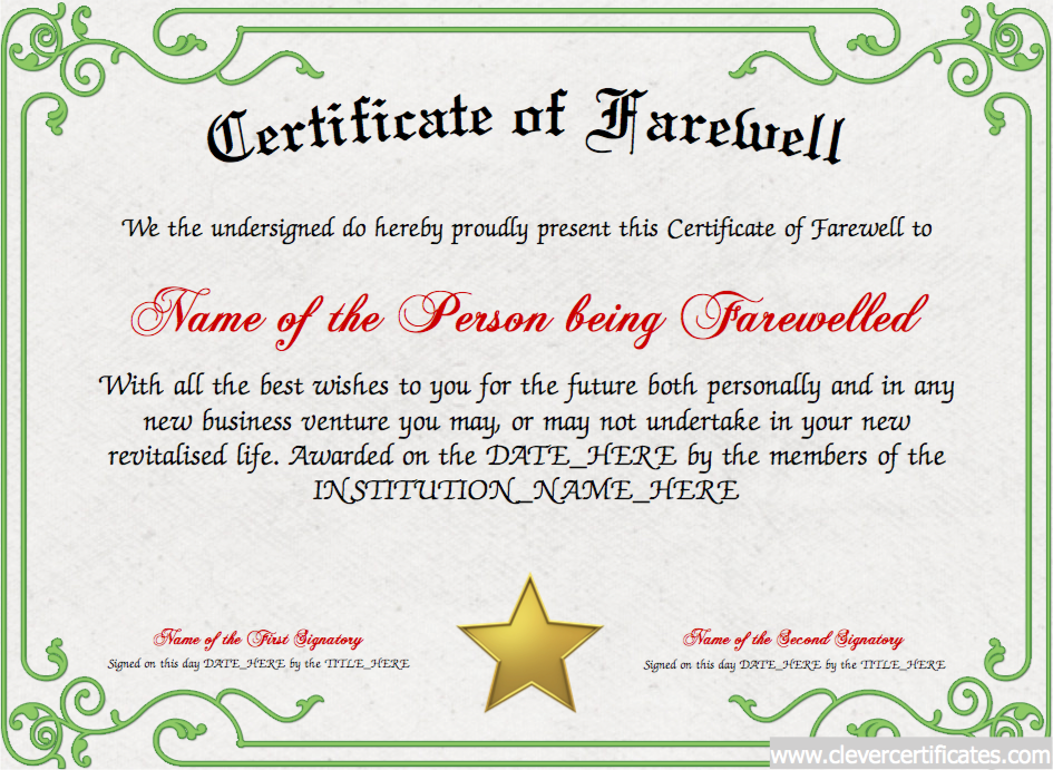 Certificate Of Farewell Free Certificate Templates For Employees