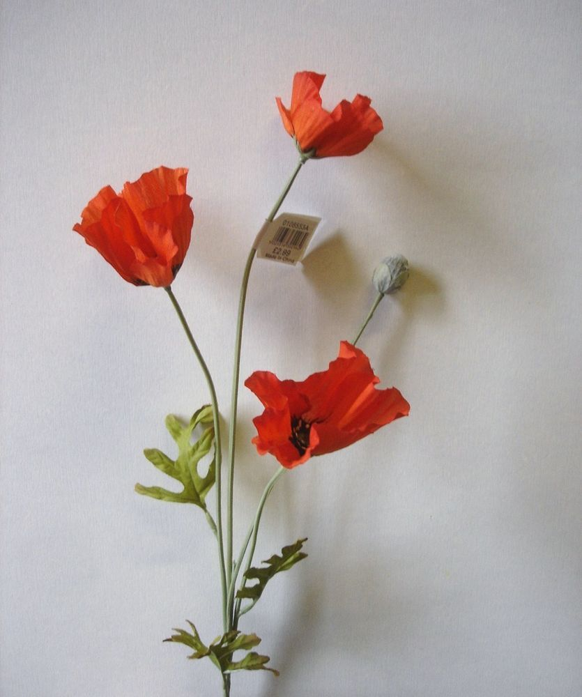 Pack 6 Stems Orange Field Poppy Spray Silk Flowers Superb