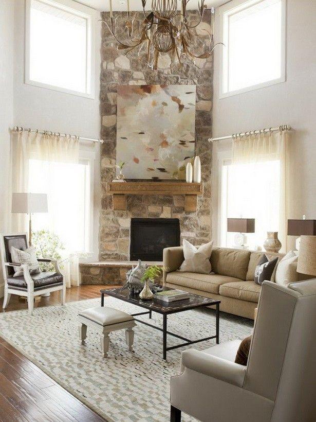 High Ceiling Corner Fireplace in Living Room Design ...