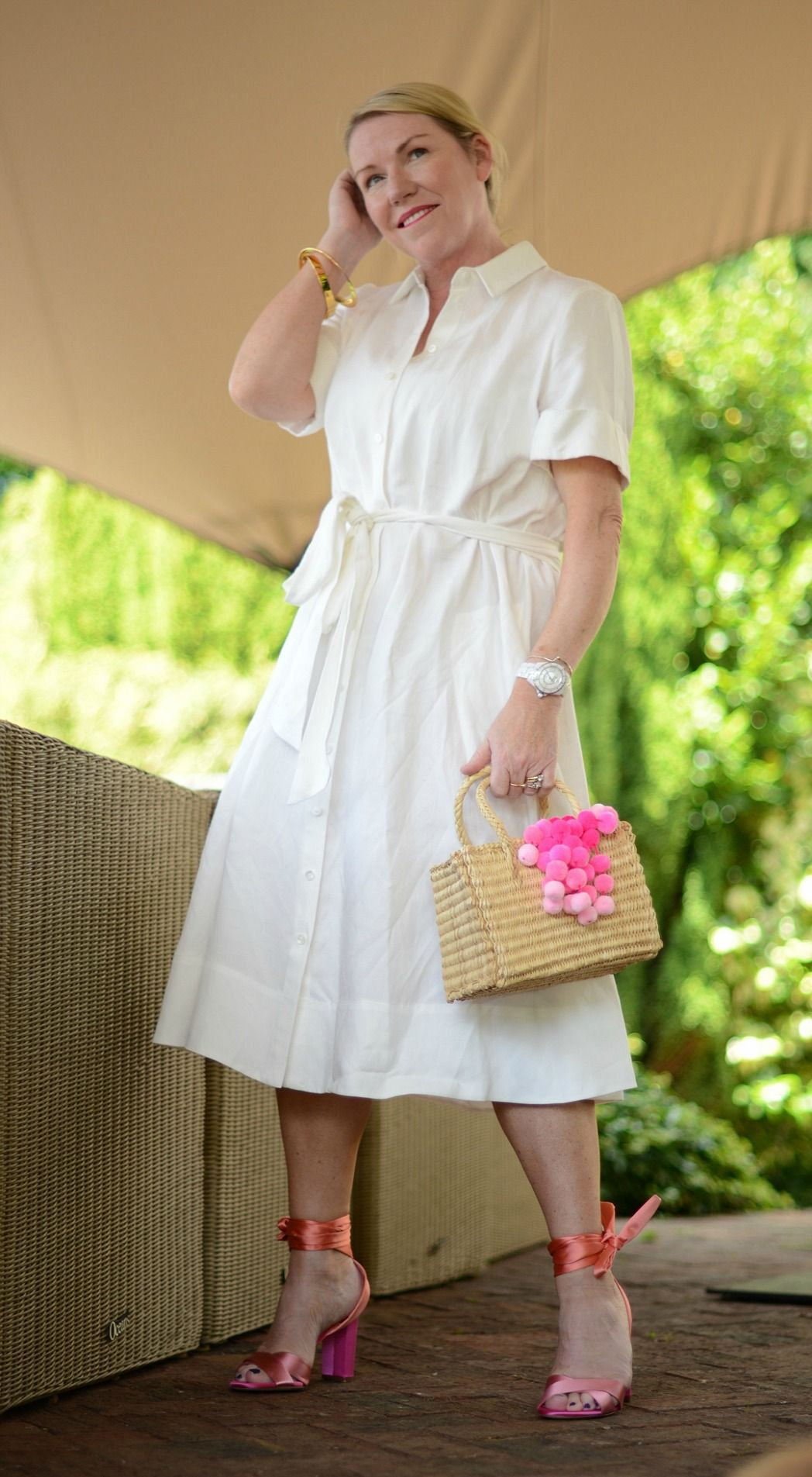 little white dress from Me + Em worn by stylist and blogger sara delaney