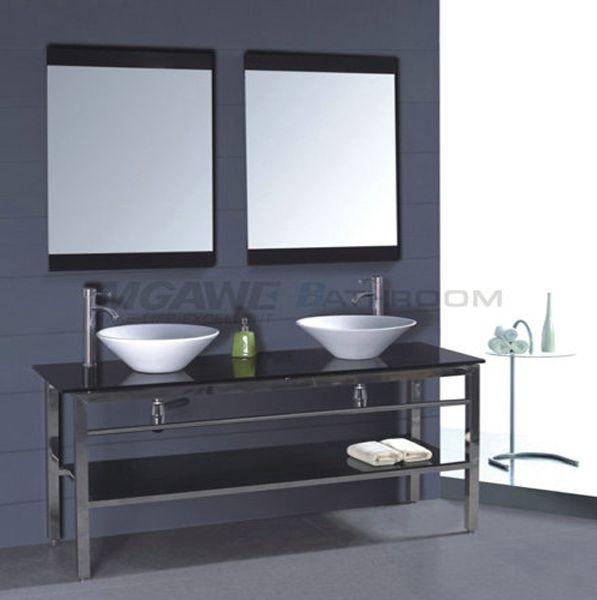Double Sink Vanity Black Glass Top Black Glass Shelf Stainless