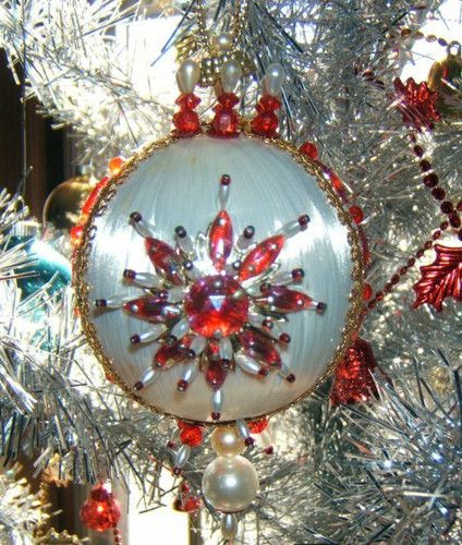 Beautiful Vintage Christmas Beaded Tree White Satin Ornament