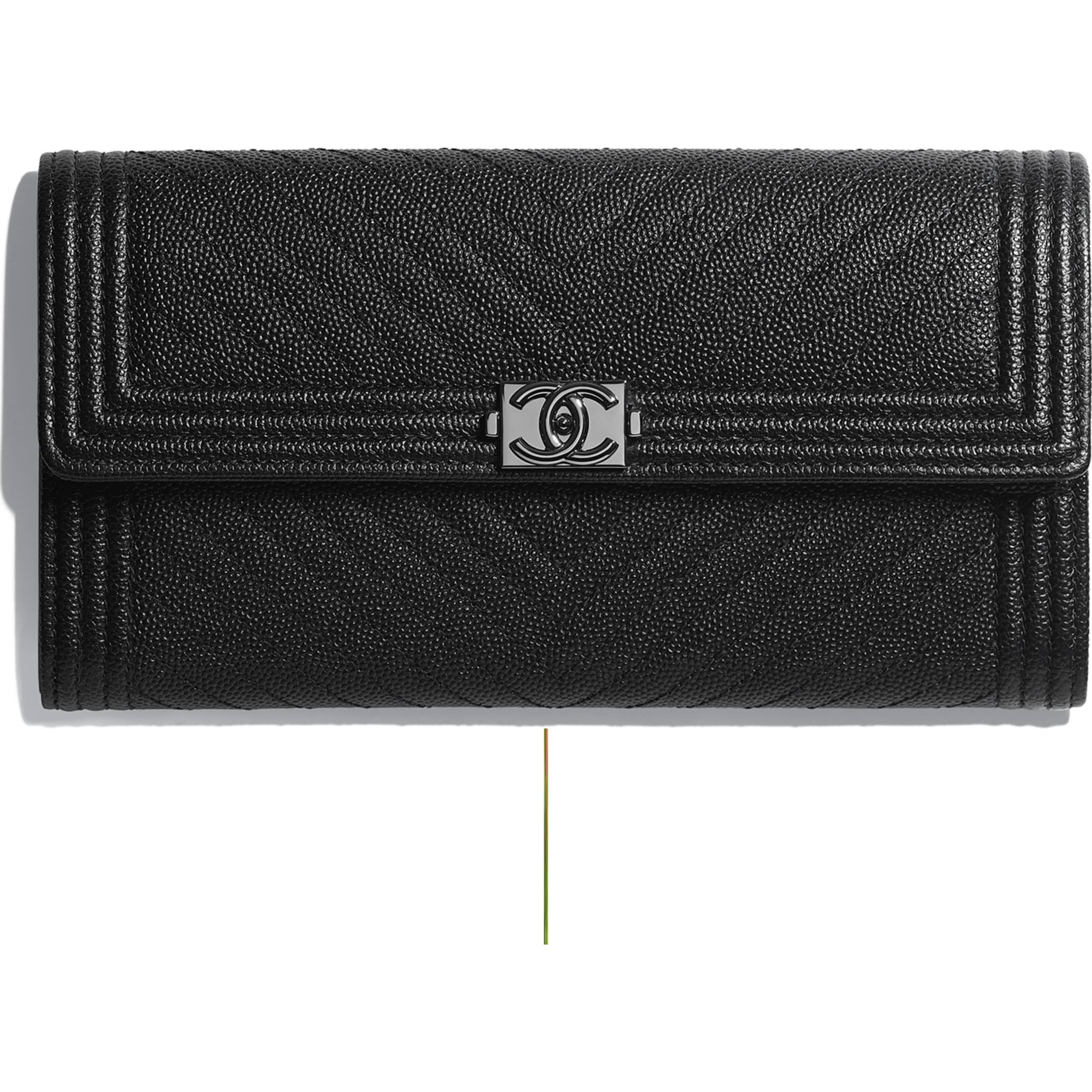 73f60af8e4f0 Grained Goatskin & Ruthenium-Tone Metal Black BOY CHANEL Flap Wallet |  CHANEL