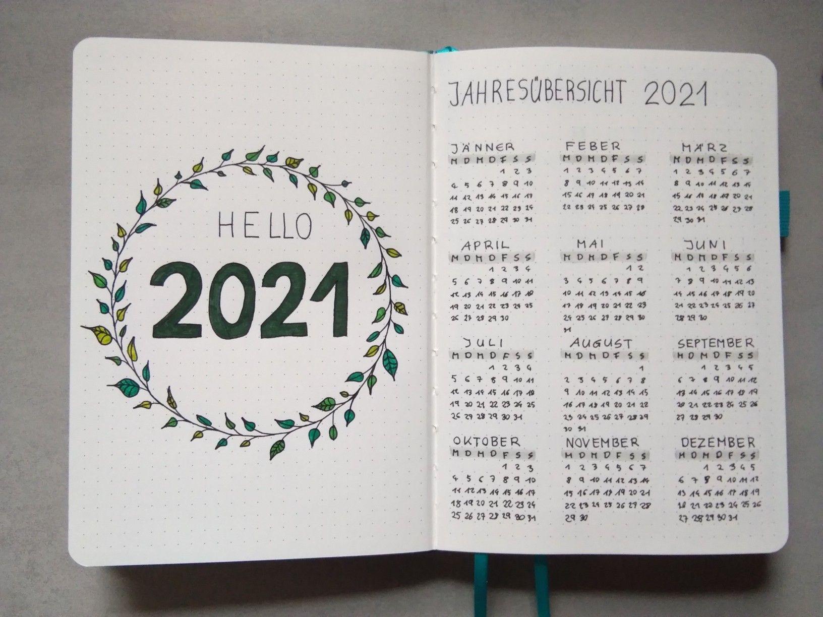 BuJo 20 Titelseite und Jahresübersicht   Bullet journal ideen ...