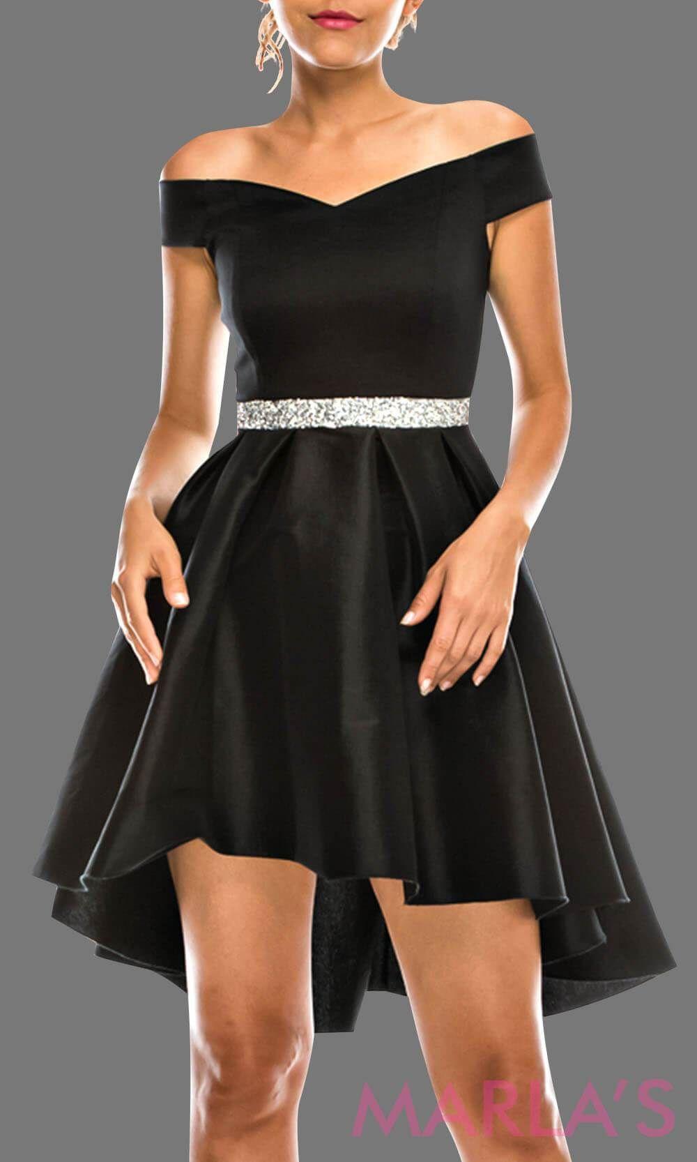 95a5997656 Simple high low black off shoulder grade 8 grad taffeta dress with  rhinestone belt. Perfect black graduation dress