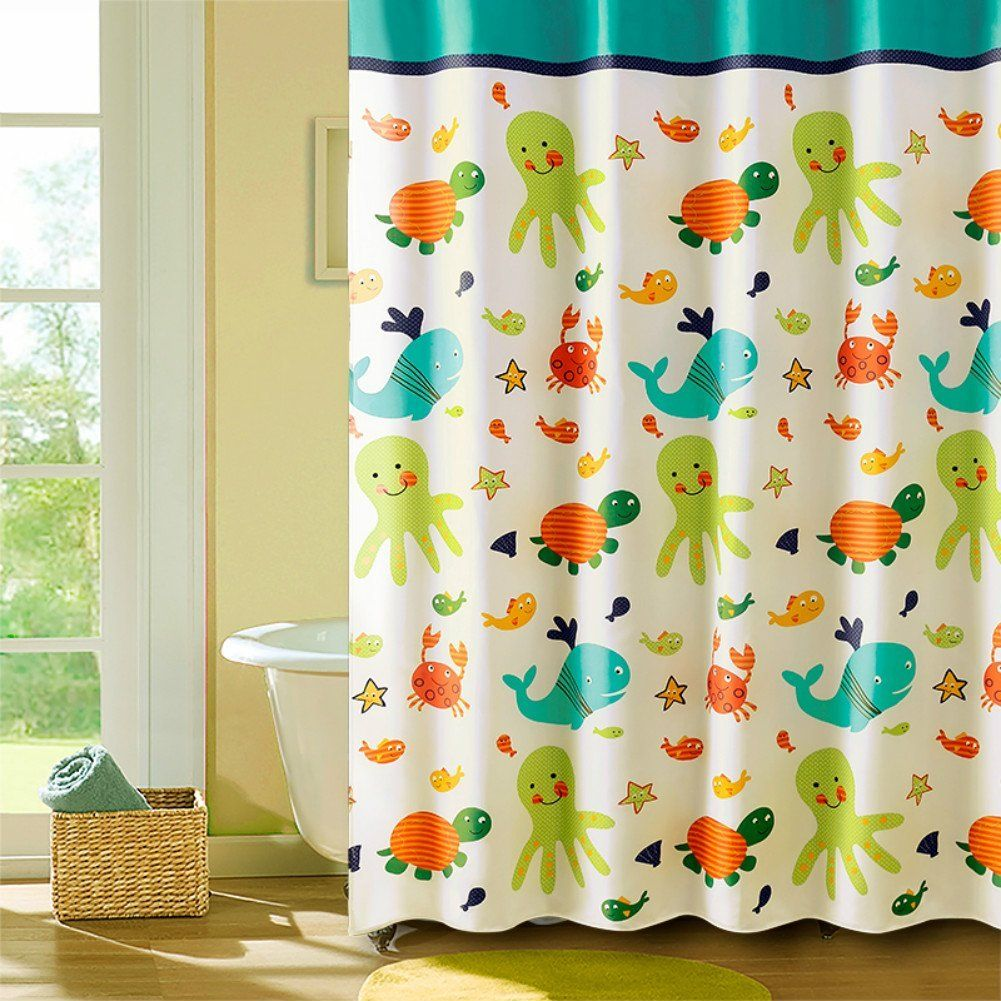 MangGou Funny Kids Shower Curtain Cartoon Nautical Tropical Underwater Polyester Liner With Octopus Starfish Shells Babies Girl Nursery Bath