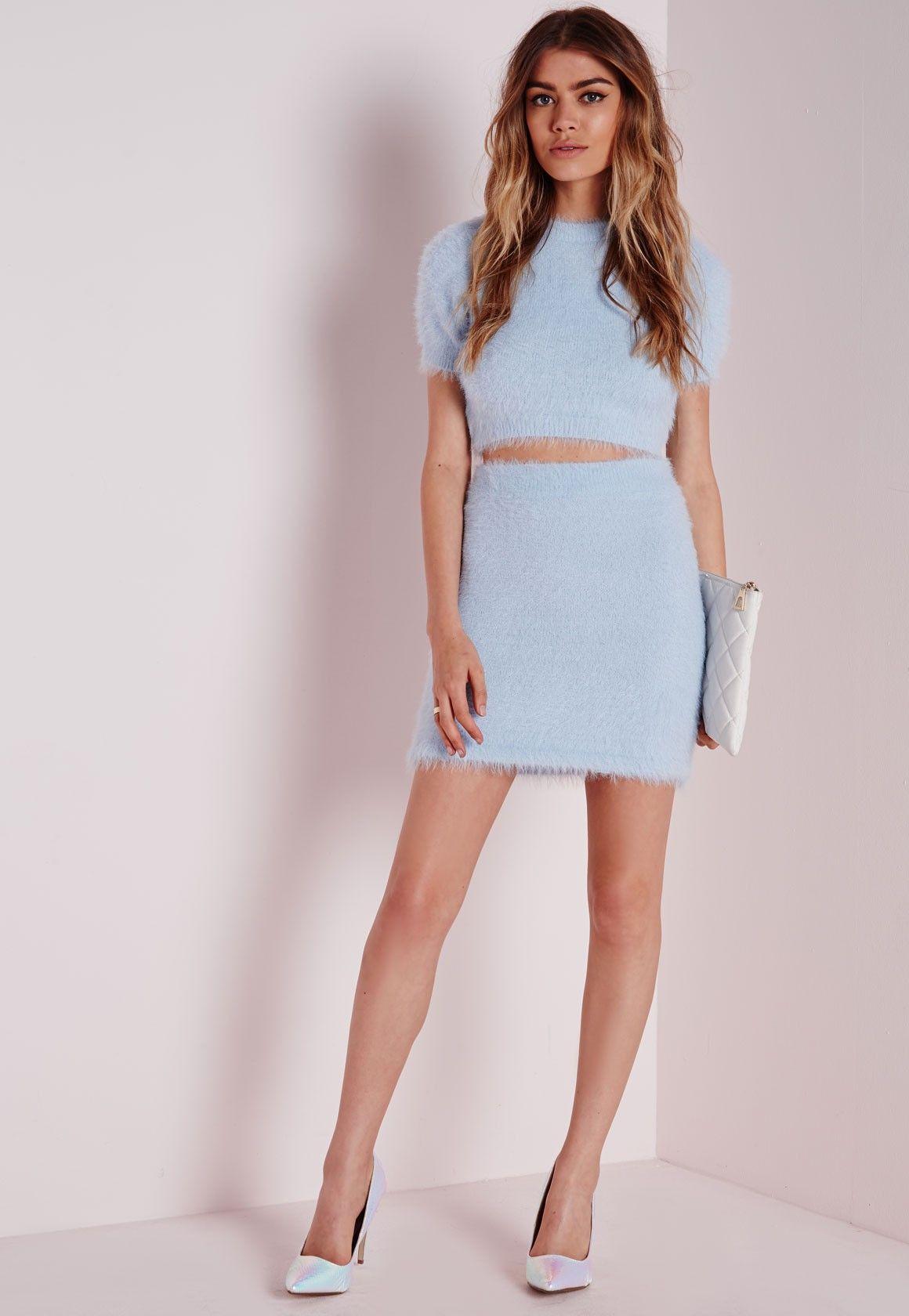 99dd0d6a10c Fluffy Mini Skirt Blue - Co-ordinates - Knitted Co-ordinates ...