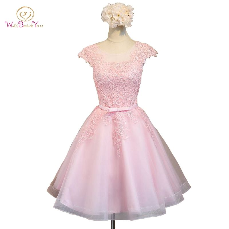 2017 Cocktail Dresses Pink Champagne Lace Applique Tulle Ball Gown ...