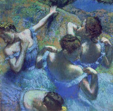 Edgar Degas - Blaue Tänzerinnen auch Kunstkarten toll