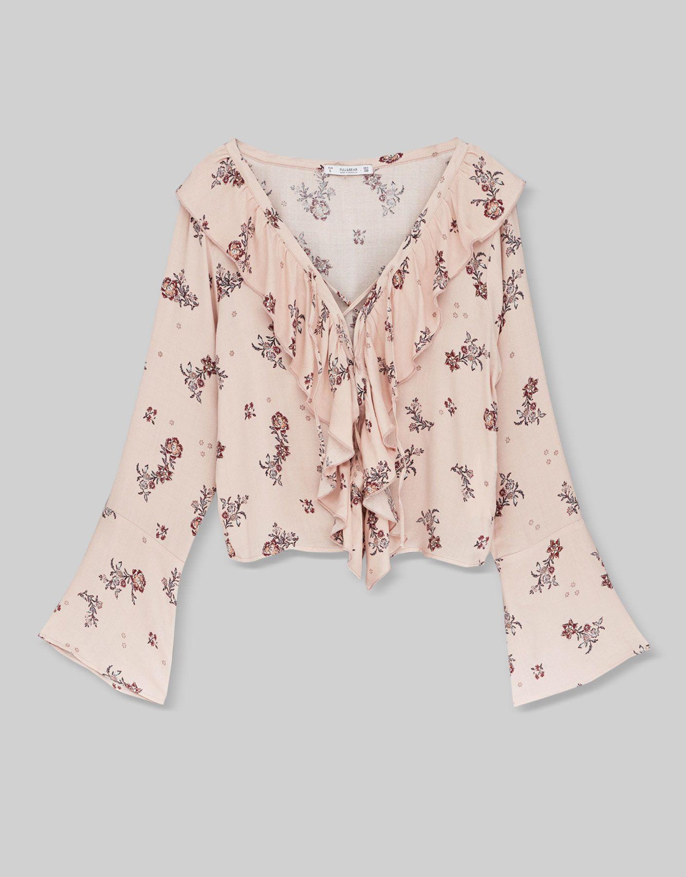 Cuerpo volante estampado - Blusas y camisas - Ropa - Mujer - PULL&BEAR México