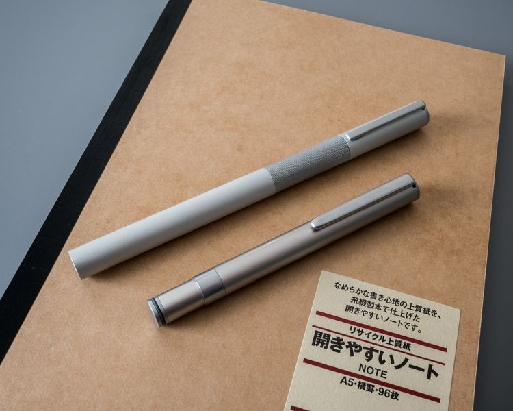 MUJI Aluminum Round Fountain Pen Made in Japan Fine nib One cartridge include