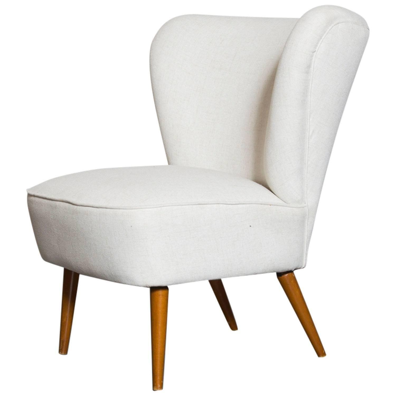 Armless Small Wing Back Boudoir Lounge Chair Stuhl Design Beistellstuhl Stuhle