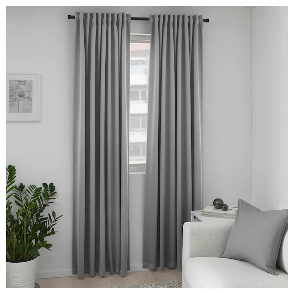 Majgull Blackout Curtains 1 Pair Gray 57x98 Ikea Block Out Curtains Grey Curtains Living Room Grey Blackout Curtains