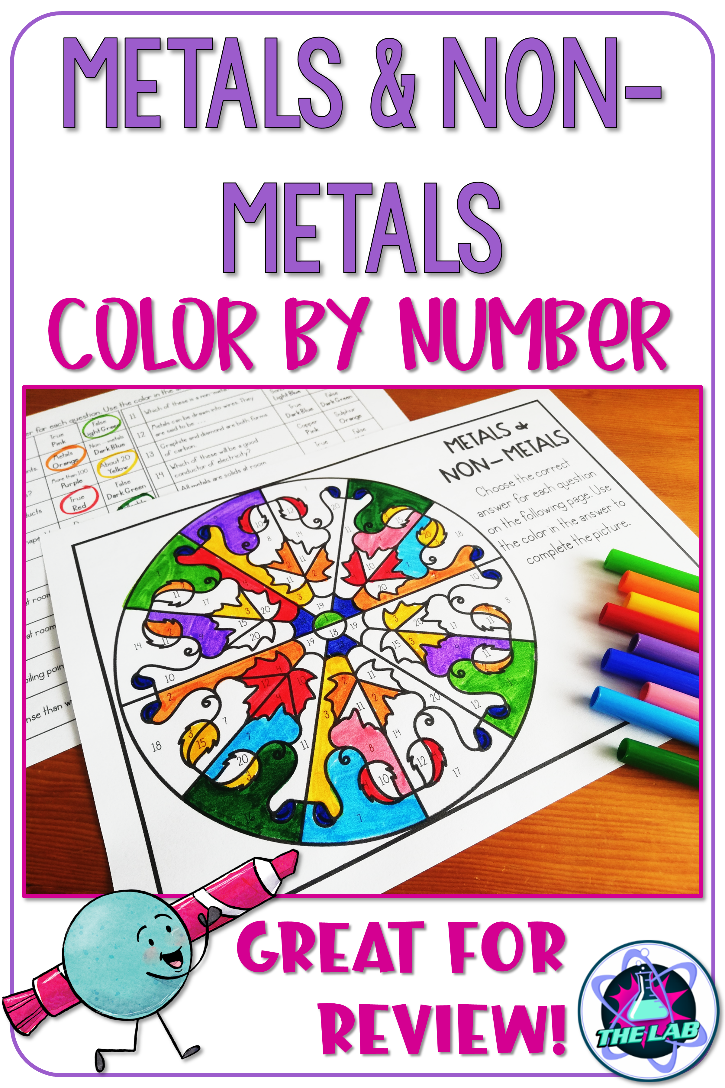 Metals And Non Metals Color By Number Science Activity
