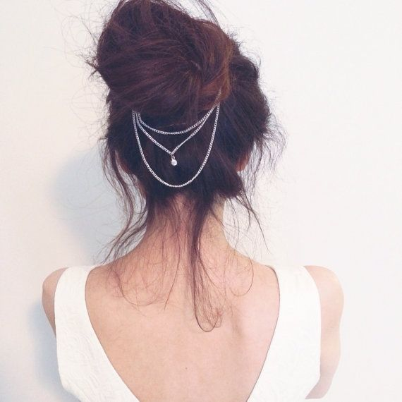 Silver Rhinestone Crystal Bridal/Wedding Hair chain #hairchains