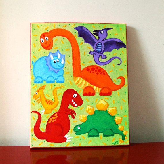 Kids Art Dinosaur Jumble 11x14 Acrylic Canvas Childrens By Njoyart 75 00 Art Dinosaurs Nursery Kids Kids Room Canvas Art Dinosaur Wall Art Art Wall Kids