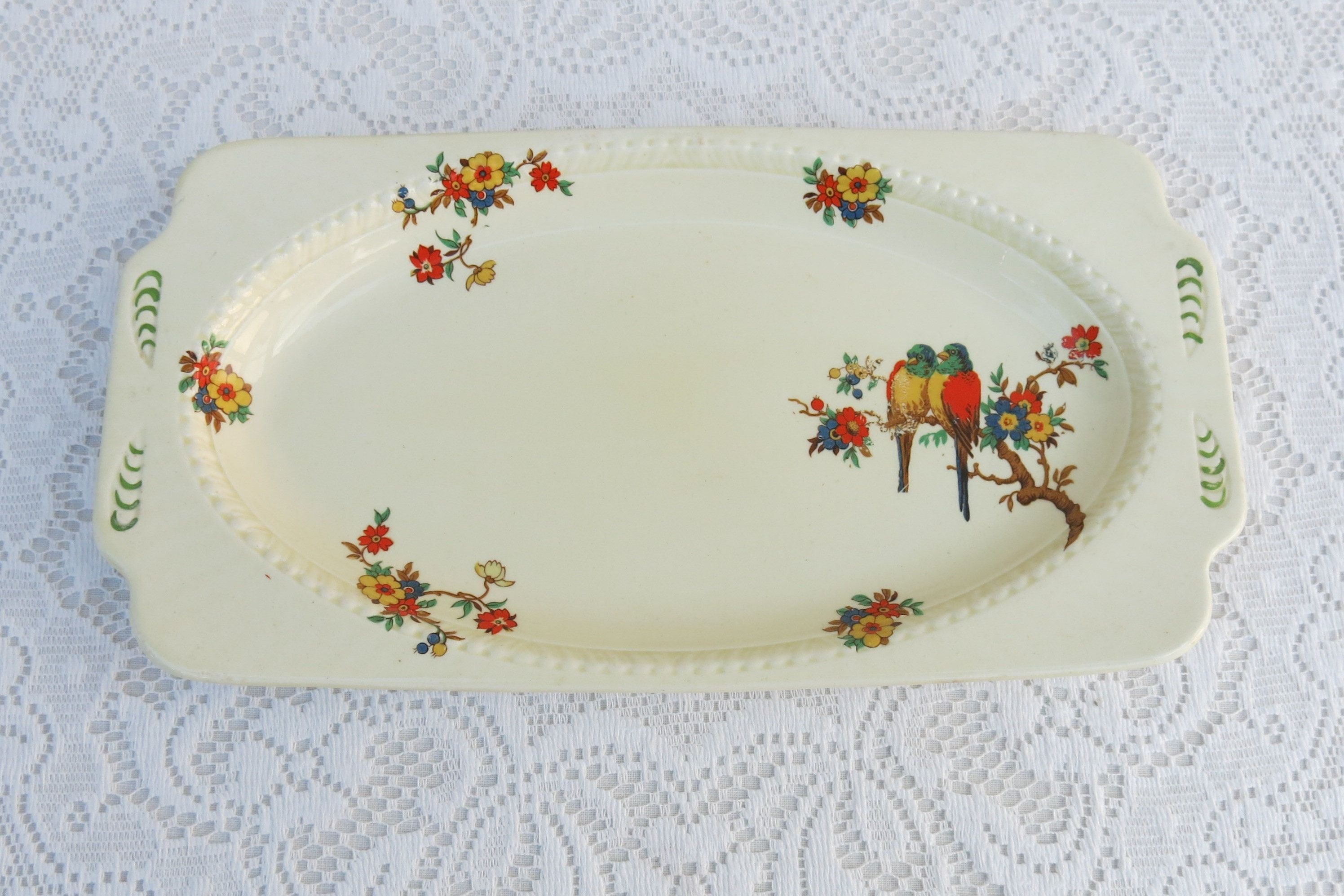 Serving Plate made in Czechoslovakia  pretty former Czech Republic cake plate  Stunning Eastern European Kitchenalia ART DECO HEAVEN