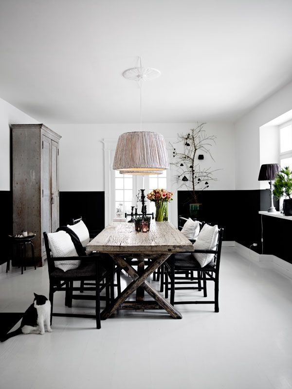 Even The Cat Is 'chic Black And White' In This Stylish Dining Room Fascinating Black And White Dining Room Design Inspiration