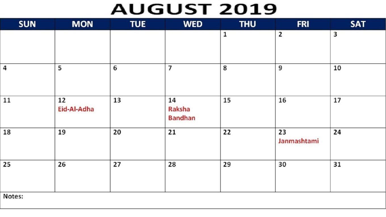 August 2019 Calendar With Holidays Printable Holiday Calendar